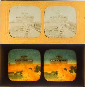 Italia-Roma-Forte-Chateau-Saint-Angel-Foto-Stereo-Diorama-Albumina-Ca-1860