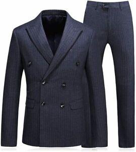 Mogu Herren Doppel Knopfleiste Nadelstreifen 3 teilig Anzug Slim Fit Blazer, grau, Größe 30