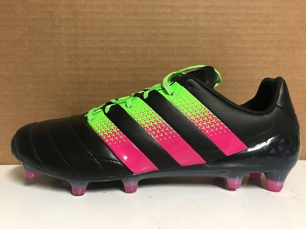Adidas Ace 16.1 FG/AG Pelle Soccer Size 8 & 10.5 Nero Pink Green AQ5064