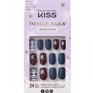 NEW Kiss Nails Limited Edition Glue Manicure Medium Matte Blue Maroon Christmas