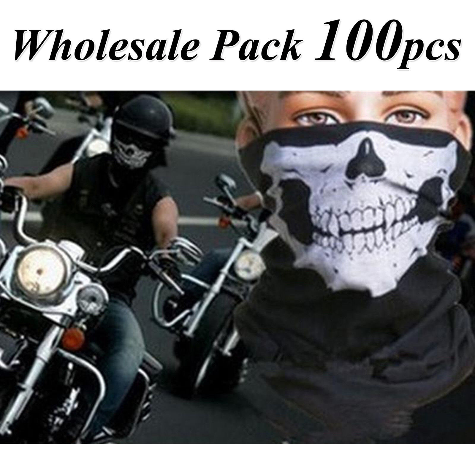 100x Ghost Biker Skull Hood Face Mask Motorcycle Ski Balaclava  CS Sport Helmet  factory direct and quick delivery