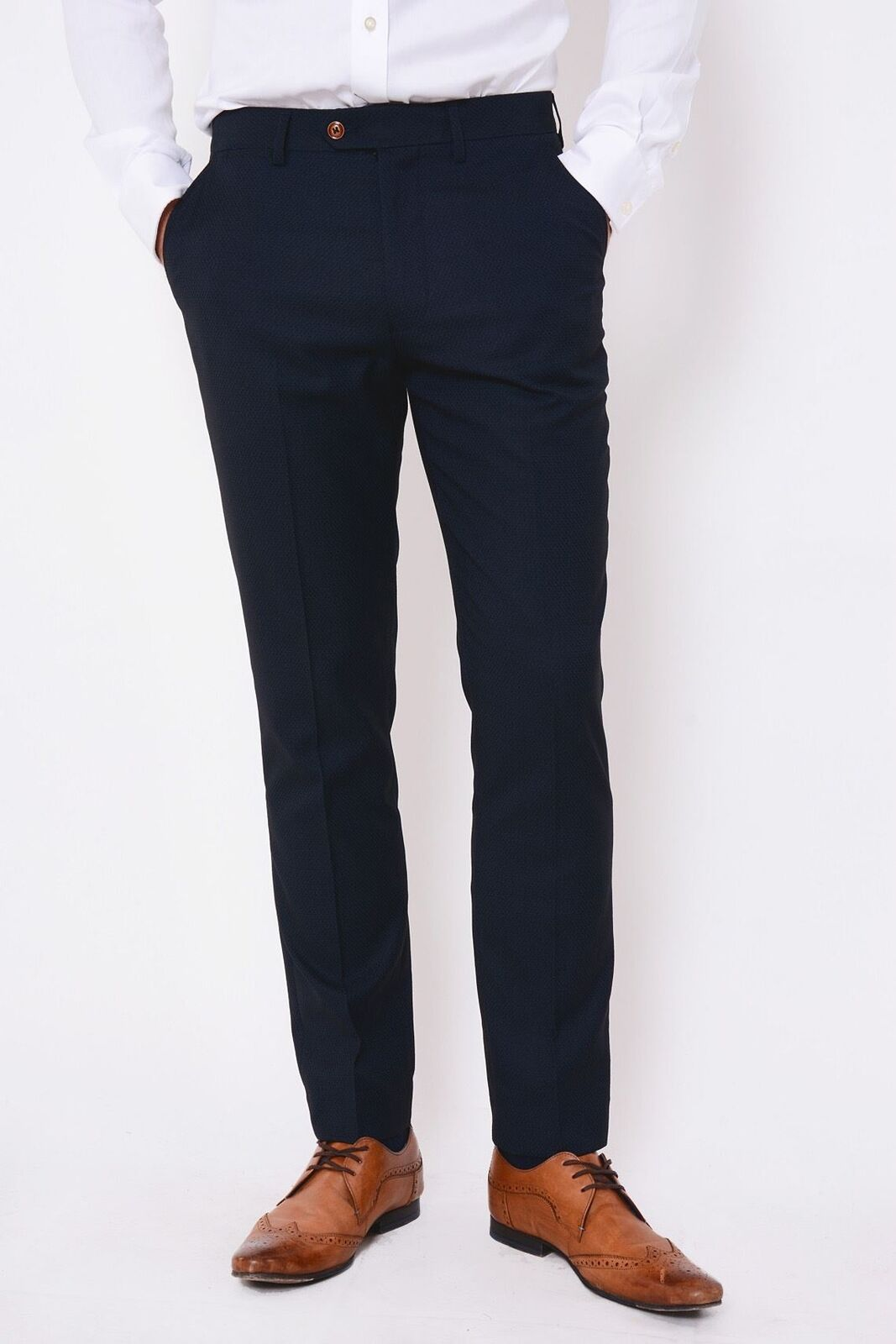 Mens Navy Formal Trousers Marc Darcy Slim Fit Tailored Smart Business Pants