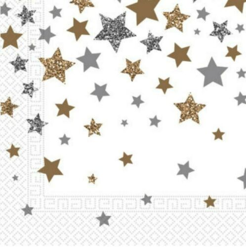 4 x Napkins for decoupage craft Paper napkin 33cm 2-play Silver Gold Stars Star