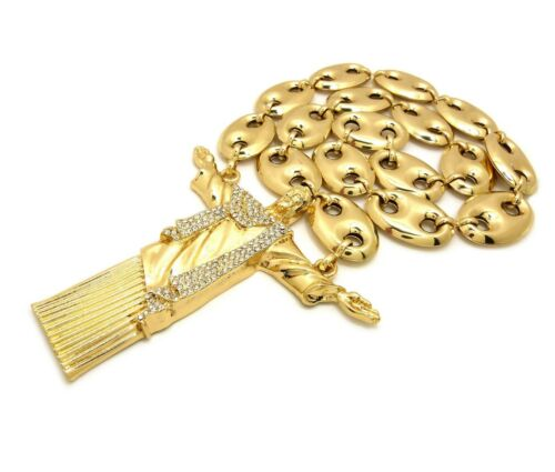 """Iced Out Hip Hop Big Jesus Whole Body Pendant w// 23mm 30/"""" Hollow Marina Chain"""