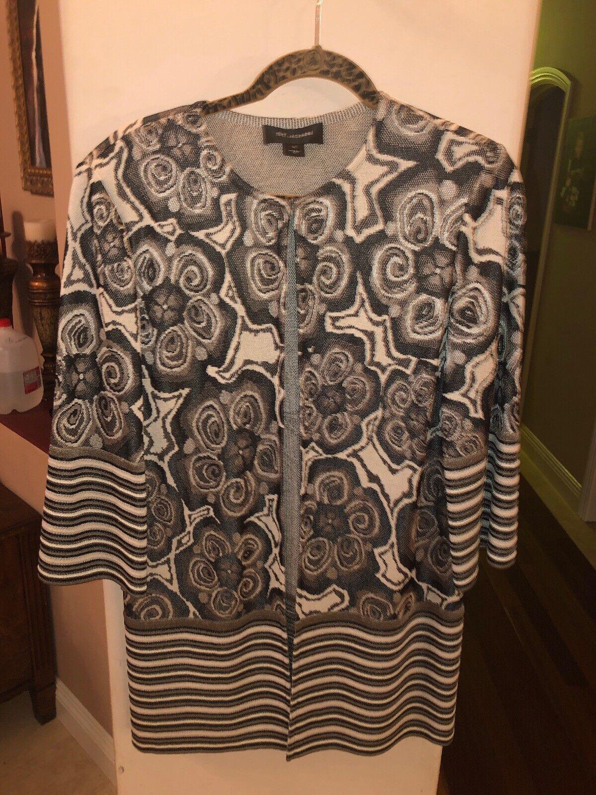 St. John Size 12 3 4 Sleeve Open Front Cardigan Sweater Women's