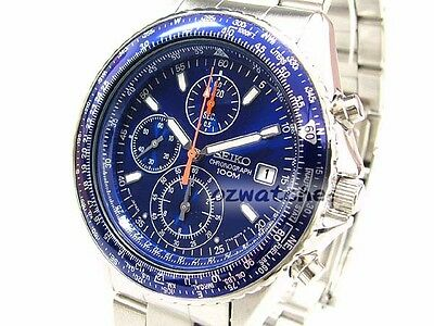 SEIKO MENS QUARTZ WATCH SND255P1 FREE EXPRESS BLUE CHRONOGRAPH SND255 NO BOX