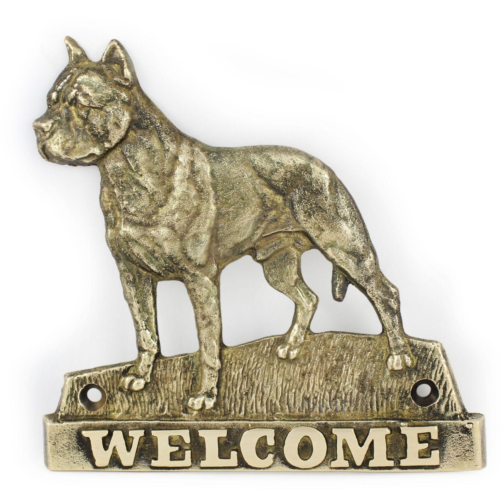 Amstaff  plaque de laiton avec un  en 'WELCOME' Art Dog FR