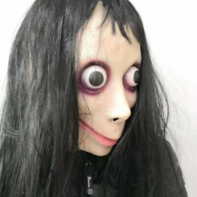 Scary Momo Costume Mask with Long Hair Halloween Costume Party Props 2019  new