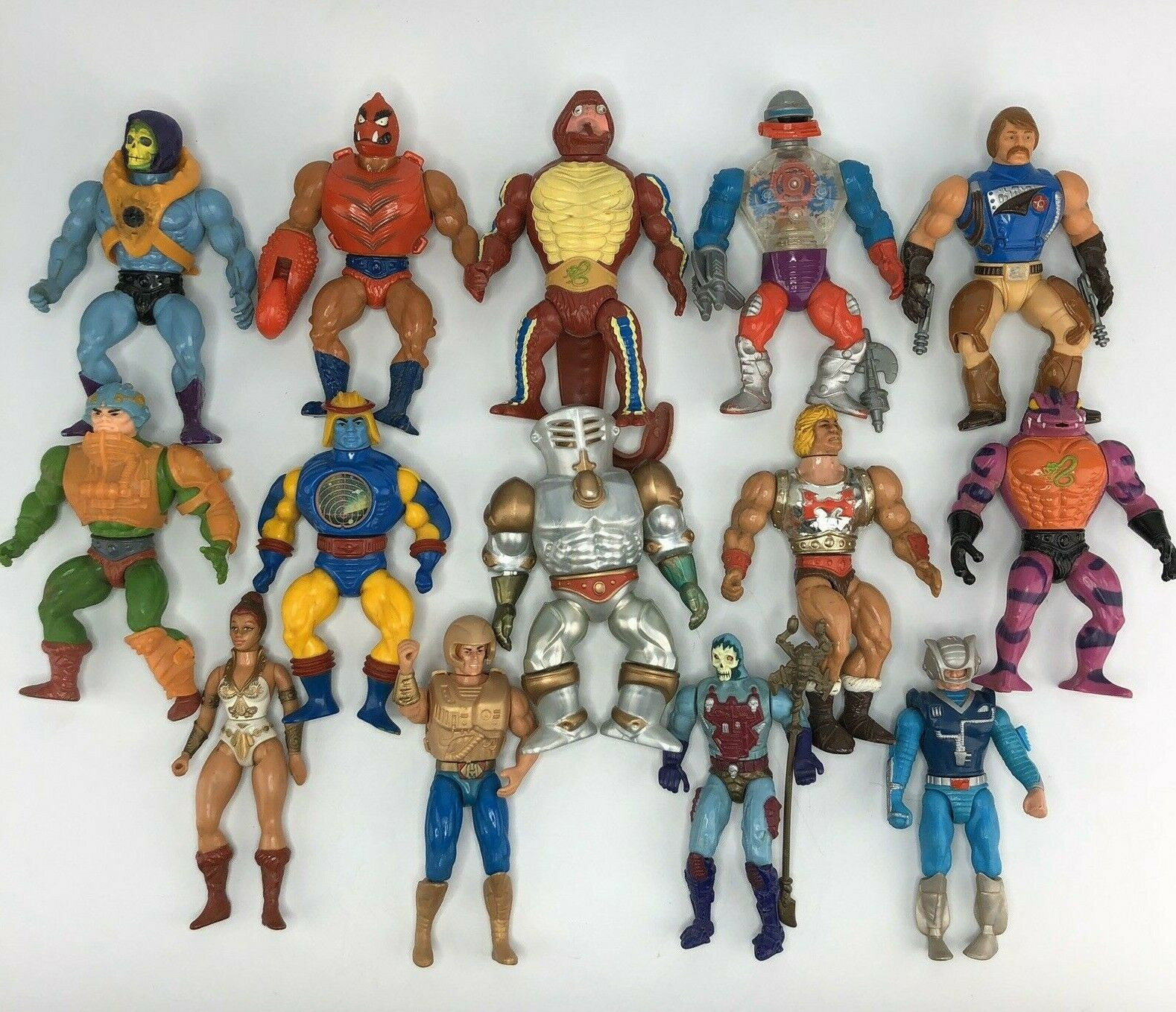Vtg MOTU Action Figure Lot of 14 Flying Fists He-Man Tung Lashor Rattlor Roboto