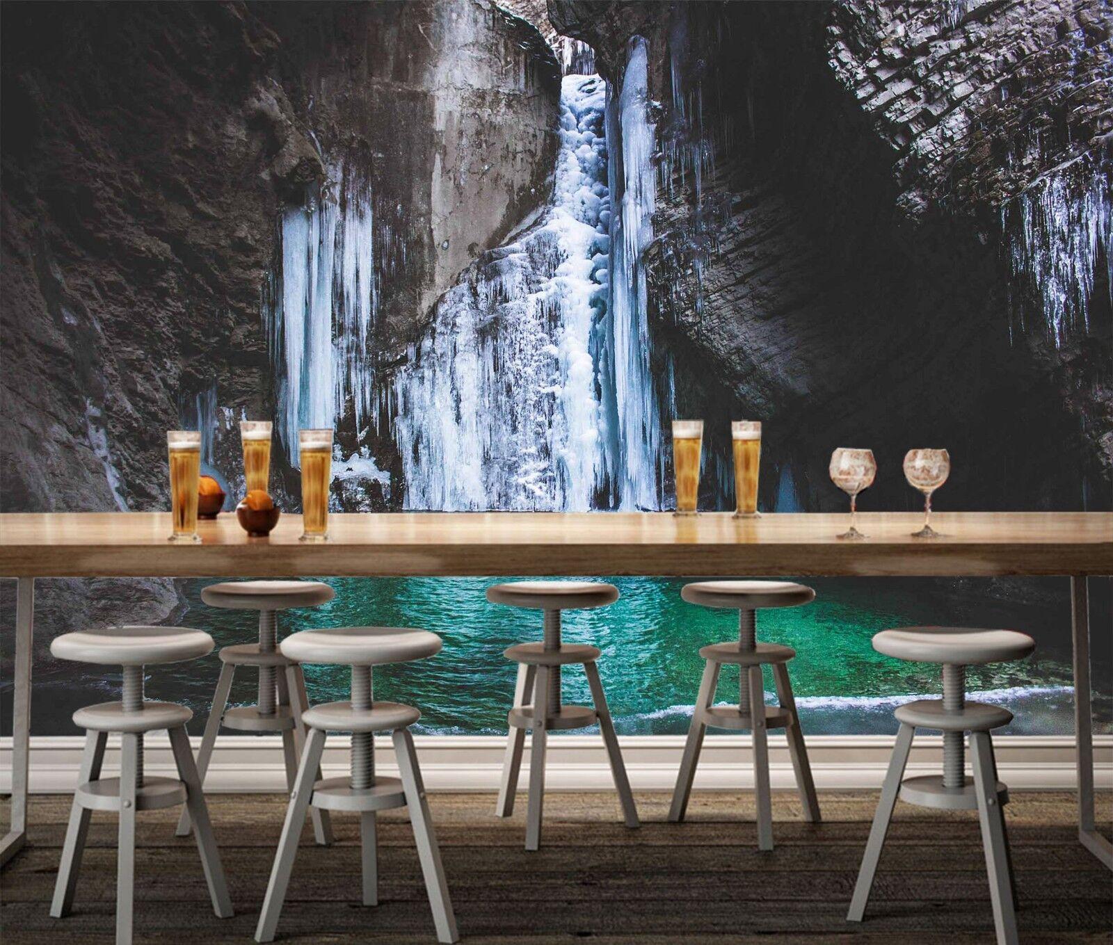 3D Waterfall Pool 7275 Wallpaper Mural Wall Print Wall Wallpaper Murals US Lemon