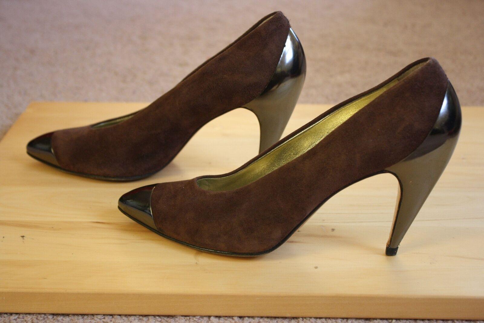 Vtg Walter Steiger 7.5 B Marroneee Suede Signature Curved Heel Metallic Cap Toe