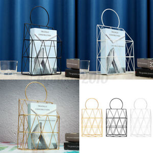 US-Post-Storage-Rack-Magazine-Newspaper-Wall-Mount-Organizer-Basket-Metal-Tools