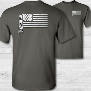 2c256113 Image is loading Oilfield-Worker-US-Flag-T-Shirt-American-roughneck-
