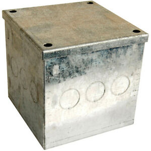 "Galvanised Adaptable Steel Box Electrical Enclosure 6x6x2/"" inches 150x150x50mm"