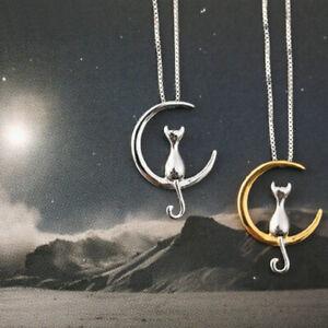 925-Sterlingsilber-Damen-Halskette-Halsketten-Katze-Silber-Cat-Tier-Mond-Himmel