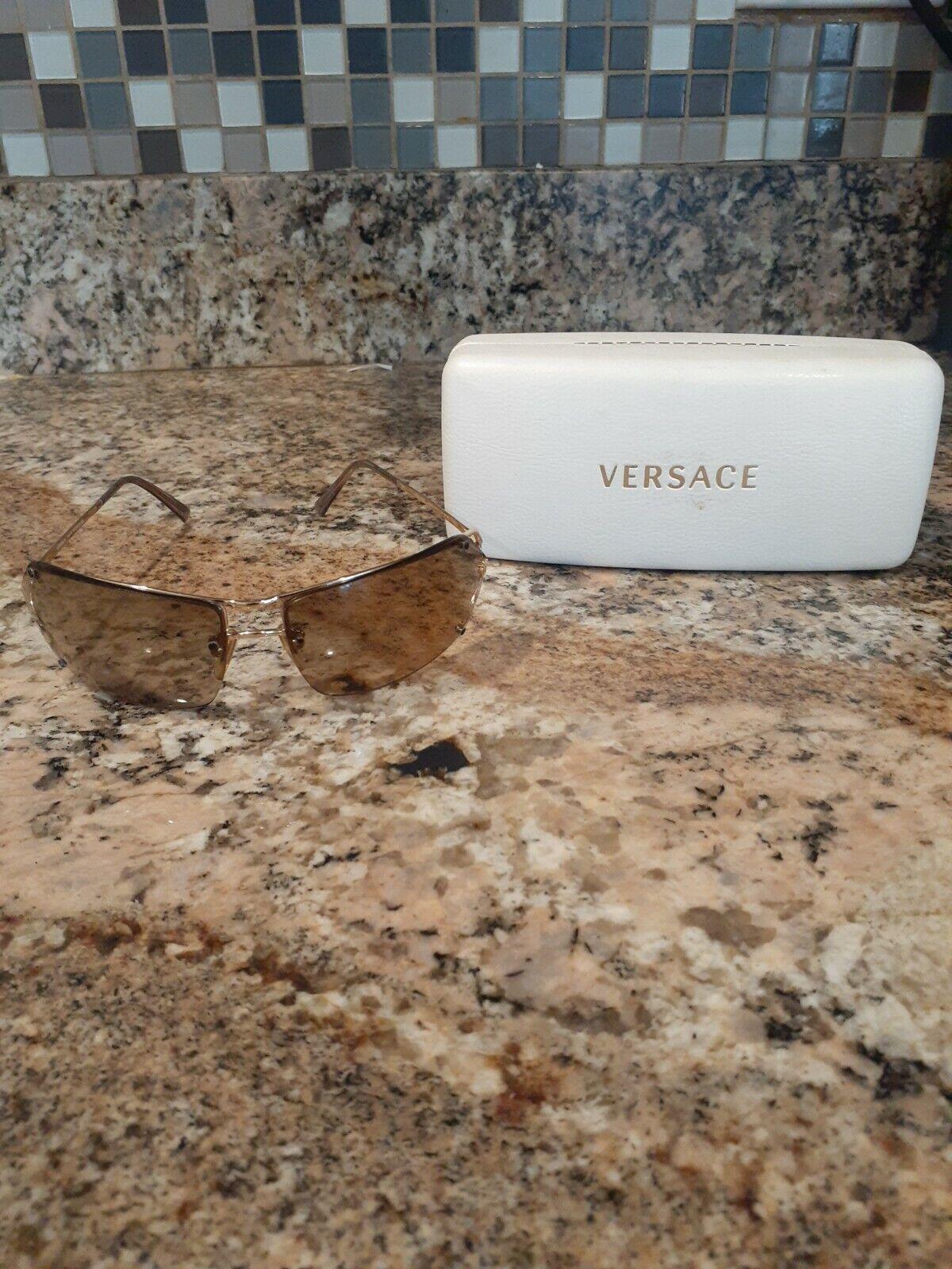 Vtg. Versace MOD N36 N30/577 71-14 115 tan lens Gold Tint Sunglasses with case