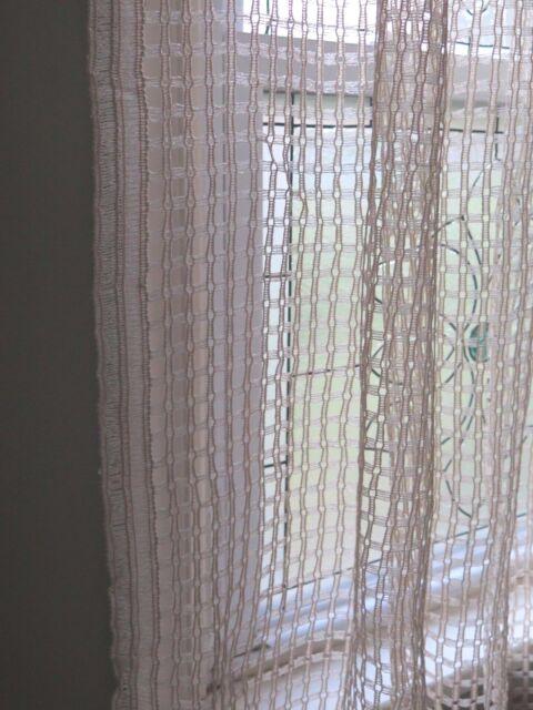 """Vtg Antique Window Pane Net Lace Curtain Panels 1 Pair  37"""" x 70"""""""