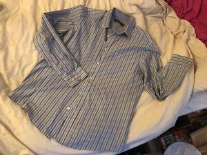 Ben-Sherman-Button-Down-Blu-Grigio-E-Bianco-Camicia-a-Righe-Medium-M-UK-Venditore-in-buonissima