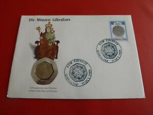 * Numisbrief 1989 * Les Pièces De Monnaie Gibraltar * Avec 20 Pence (alb20)-afficher Le Titre D'origine Vente D'éTé SpéCiale