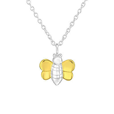 Solid Rose Gold Plated 925 Sterling Silver Bumble Bee Pendant Necklace