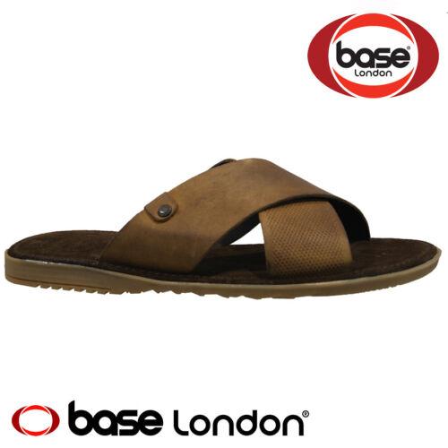 MENS BASE LONDON LEATHER CASUAL SUMMER WALKING COMFORT GLADIATOR MULES SANDALS