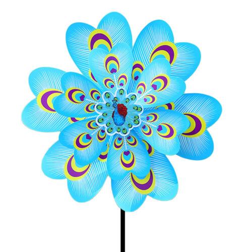 Double Layers Cartoon Peacock Windmill Wind Spinner Yard Garden Decor Kids Toy