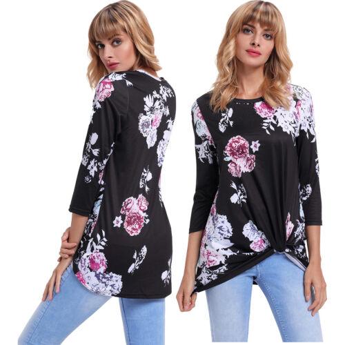 Schwarze langarm knotted blumendruck bluse shirt damen