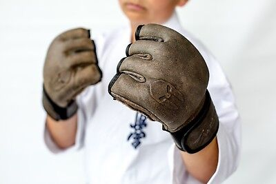 Genuine Leather MMA Gloves open palm with thumb protection Reg $90 sale $49