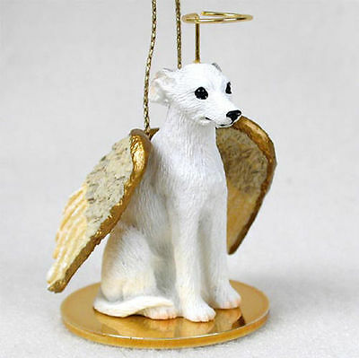 Whippet Ornament Angel Figurine Hand Painted White