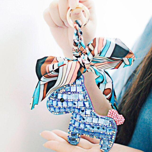 Fashion Crystal Horse Animal Charm Key Ring Keychain Bag Purse Pendant Keyring