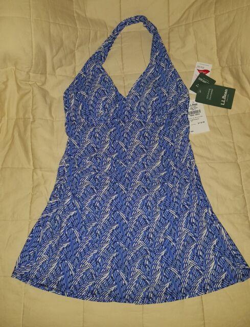 eca066d46c LL Bean Slimming Swim Dress Clasp Halter Cobalt Seaglass W s sz 14 softcup  UPF40