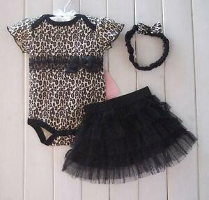 Baby Girls Clothes Leopard Print Romper Princess Dress Hair Band 3 Pcs Set 3-24M