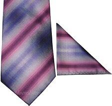 New Polyester Woven Men's Neck Tie set purple pink necktie wedding prom formal