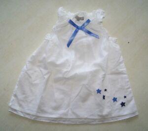 Robe-blanche-et-bleue-neuve-taille-1-mois-marque-Grain-de-Ble-etiquetee-a-17-99