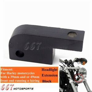 Black Headlight Extension Block 39mm 49mm Front Running End For Harley Dyna FXDB