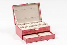 Pink Leather Watch Bracelet Ring Jewelry Display Case Box  Storage Organizer