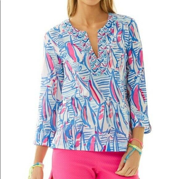 NWT LILLY PULITZER AMELIA ISLAND TUNIC rot RIGHT RETURN XS,S GRAIL PRINT