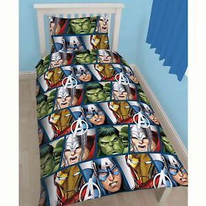 Marvel-Avengers-Bouclier-Housse-Couette-Simple-Set-Reversible-Thor-Fer-Man-Neuf