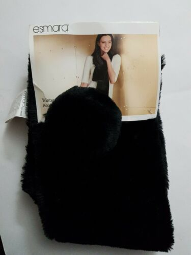 Esmara Winter Accessory Set Faux Fur  Scarf Black