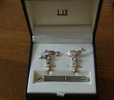 DUNHILL Cuff Links Leaping Salmon Cigar Piercer Set Sterling Silver 925