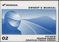 2002 Honda Motorcycle Vt750cd Shadow Deluxe Owners Manual (059)