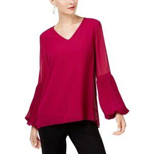 Alfani-Womens-Blouse-Pleated-Long-Sleeve-Top-V-Neck-Flowy-Trendy-Pink-Magenta-XS