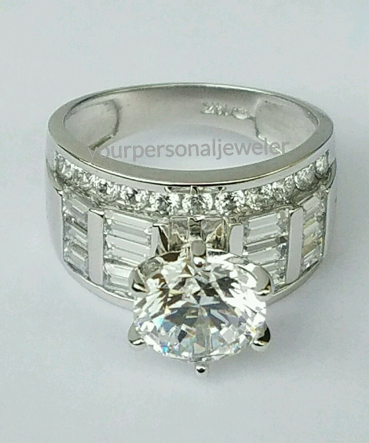 5 CT big wide 14k White Gold round baguette Man Made Diamond Engagement Ring