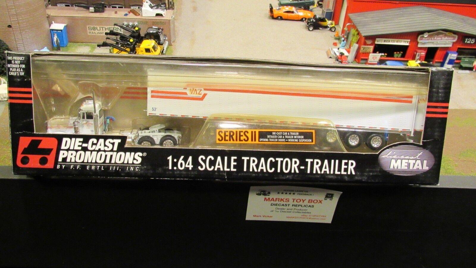DCPPaul e Vaz camiones Pete 379 día Cab semi camión Dry Van Trailer 1 64