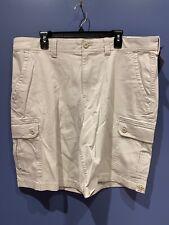 St Johns Bay Hiking Cargo Shorts Elastic Waist Mens Sz 44 British Khaki MSRP $40