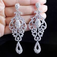 Item 2 Pageant Austrian Crystal Rhinestone Silver Chandelier Dangle Earrings Prom E2090