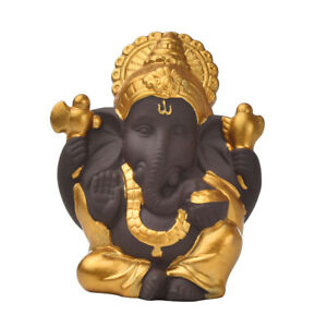 New 1pce 28cm Buddha In Supporting Hand Ganesh Gold Statue