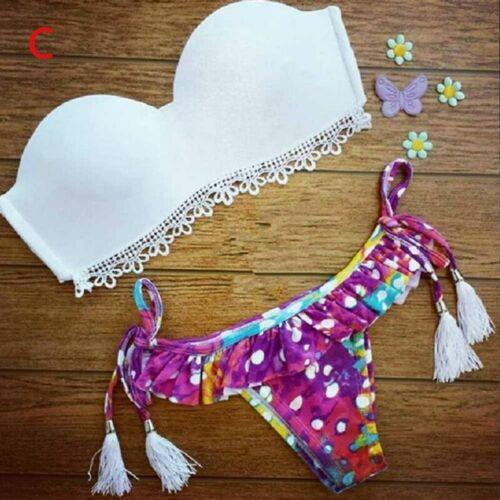 Women Swimwear Bandage Bikini Set Push-up Padded Bra Bathing Suit Swimsuit