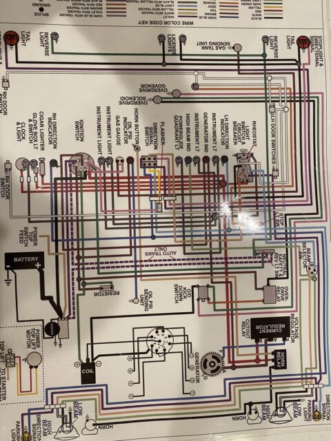 1955 55 Chevy Cars Full Color Laminated Wiring Diagram 11