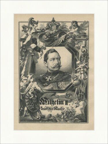 Wilhelm II Deutscher Kaiser König Preußen Hohenzollern Marine Holzstich E 22777